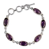 Unique Sterling Silver and Amethyst Link Bracelet FSB-25