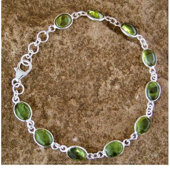 Peridot and Sterling Silver Link Bracelet from India FSB-24