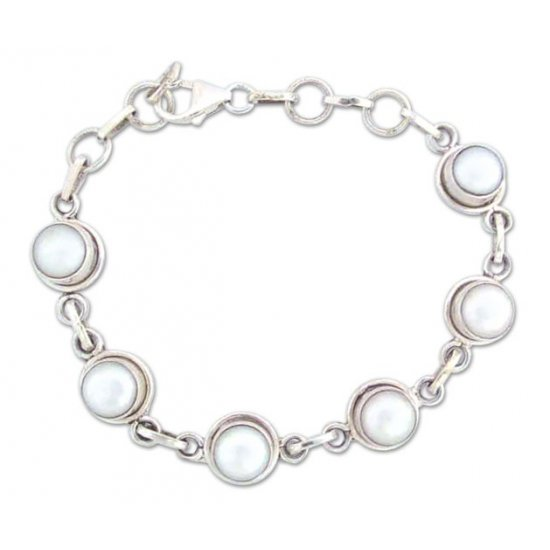 Hand Made Bridal Sterling Silver Link Pearl Bracelet FSB-23