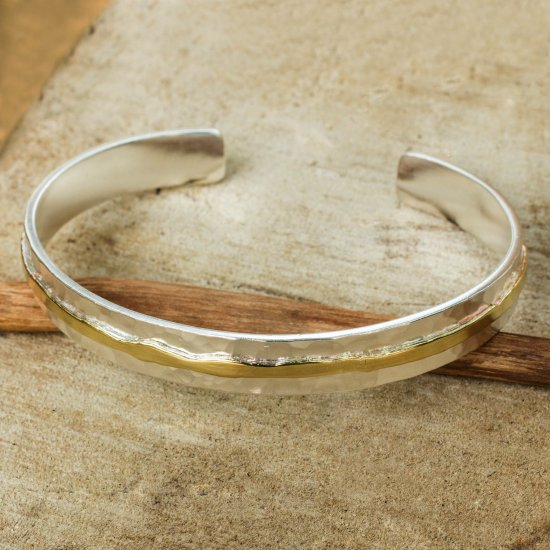 Gold Accent Sterling Silver Hammered Cuff Bracelet FSB-39
