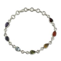 Sterling Silver Bracelet Multi Gemstone Chakra Jewelry FSB-38