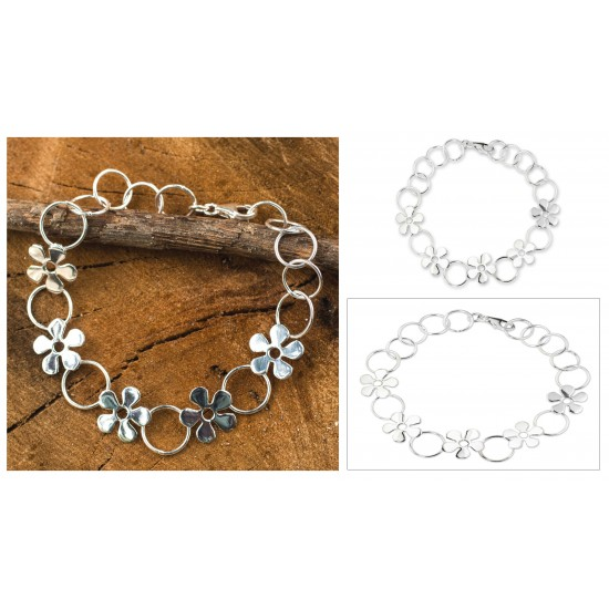 Hand Made Thai Silver Flower Bracelet FSB-37