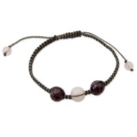 Indian Cotton Cord Charoite and Rose Quartz Bracelet FSB-36