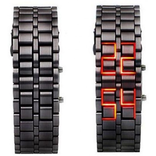 Lava Black Iron Metal Red LED Watch For Men (Digital, Sport Watch) ANDW-02 image