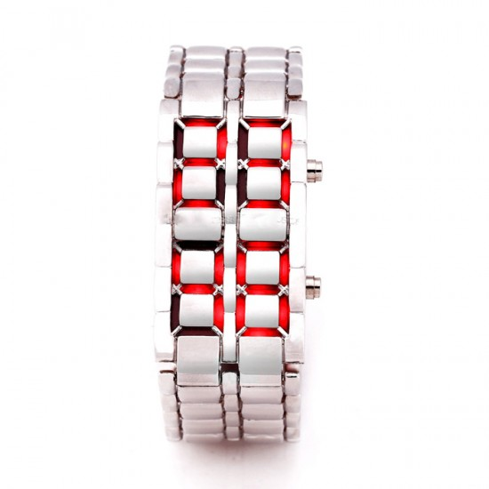 Lava Silver Iron Metal Red LED Watch For Men (Digital, Sport Watch) ANDW-04