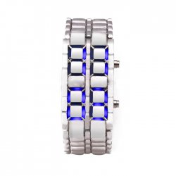 Lava Silver Iron Metal Blue LED Watch For Men (Digital, Sport Watch) ANDW-03