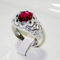 Arabic Style Silver 925 Ring with Ruby Stone ANDR-73