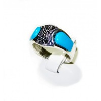 Double Turquoise & Grey Zirconian Gem Silver 925 Ring ANDR-86