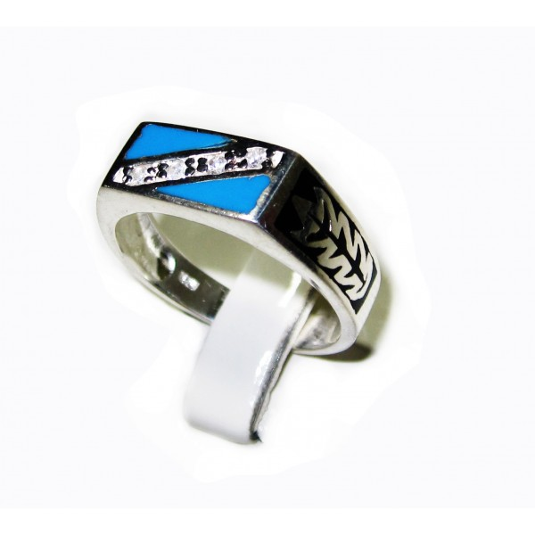 Blue Turquoise with 4 white Zircons Silver 925 Ring ANDR-85 image