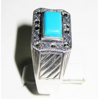 Blue torquoise silver 925 Ring ANDR-83