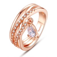 18K Gold Plated Bohemia Ring For Ladies With Water Drop Pendant CBR-01
