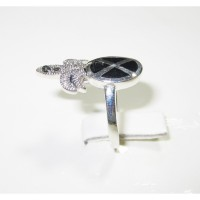 Silver 925 Ring Palm Designed with Black Agate Stone andr-92