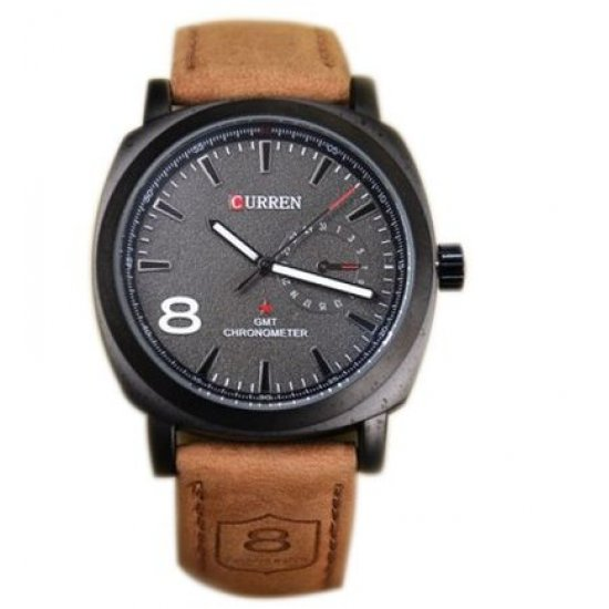 Curren Black Dial Men Watch With Brown Leather Band ANDW-02