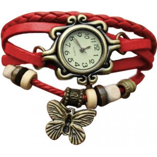 Stylish Red Ladies Leather Vintage Watch CZW-02RD