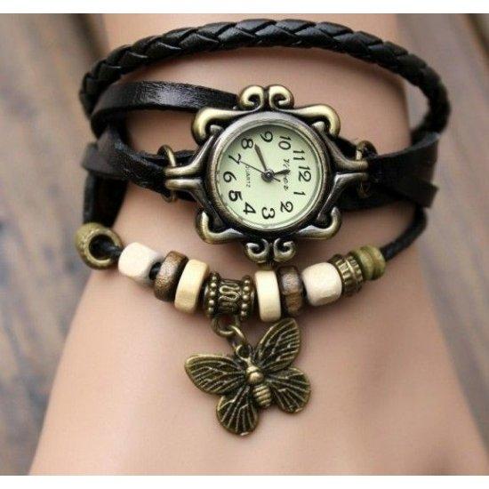 Stylish Black Ladies Leather Vintage Watch CZW-02BK