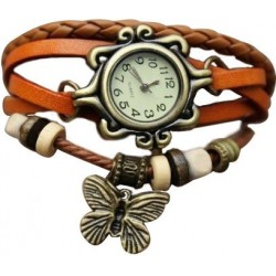 Stylish ORANGE Ladies Leather Vintage Bracelet Watch CZW-02OR
