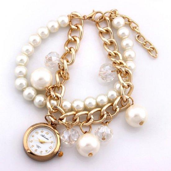 Ailisha Rose Gold Tone Pearls Charm Bracelet Watch CZW-06 image