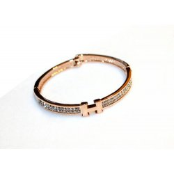 Women Korean 18k Gold Plated with Letter H Diamonds Crystals Bracelet CHD 02