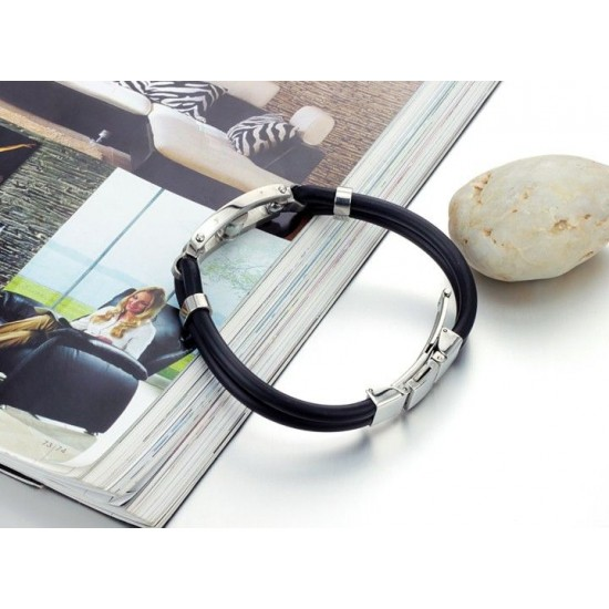 Men's Handmade Silver Tone Stainless Steel Silicone  Fashion Bracelet CHBD-02