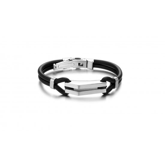 Men's Handmade Titanium Steel Silicone Fashion Bracelet CHBD-03 image