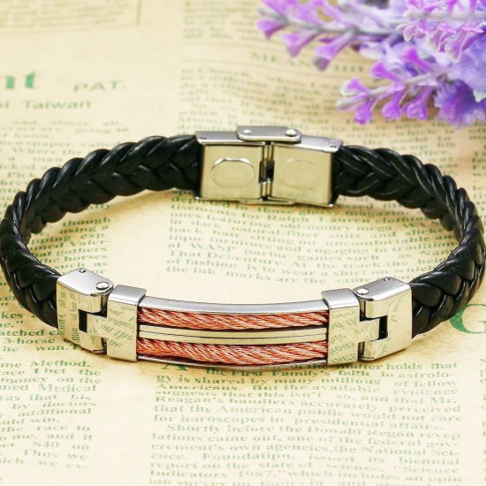 Men's Handmade Silver Tone Stainless Steel Leather Fashion Bracelet CHBD-05 image