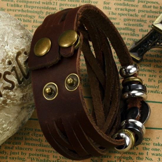 Men's Handmade Leather Fashion Bracelet CHBD-06 image