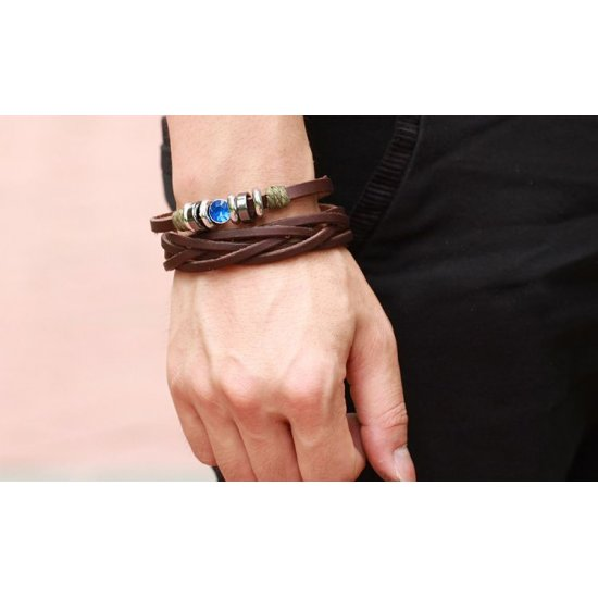 Hand Made Brown Cow Leather Bracelet For Man CHBD-07 image
