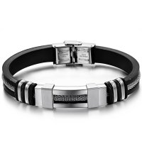 Men's Handmade Silver Tone Stainless Steel Silicone Fashion Bracelet SB-01S