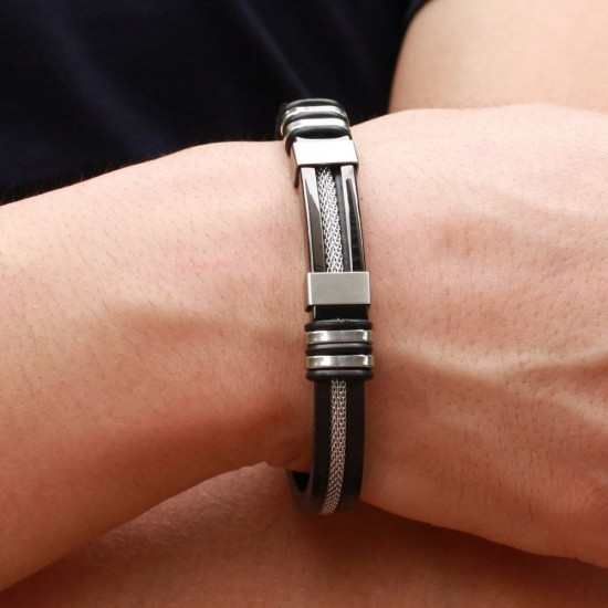 Men's Handmade Silver Tone Stainless Steel Silicone Fashion Bracelet SB-01S