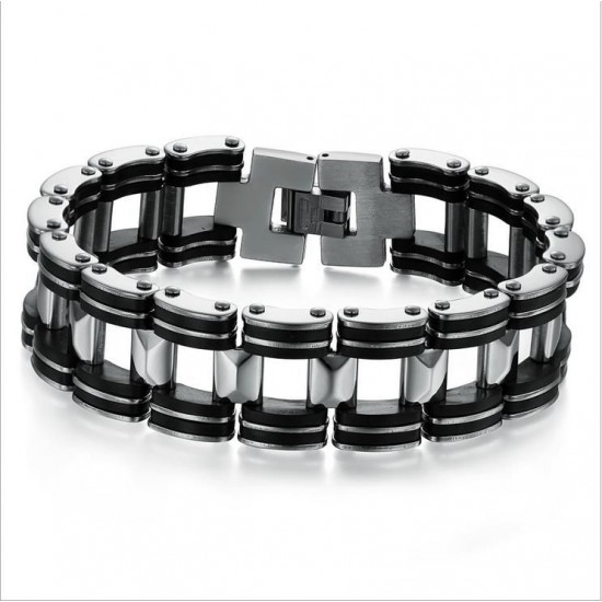 Men's Handmade Silver Tone Stainless Steel Silicone Fashion Bracelet CHBD-09 image