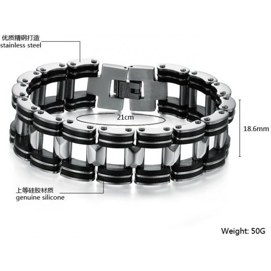 Men's Handmade Silver Tone Stainless Steel Silicone Fashion Bracelet CHBD-09