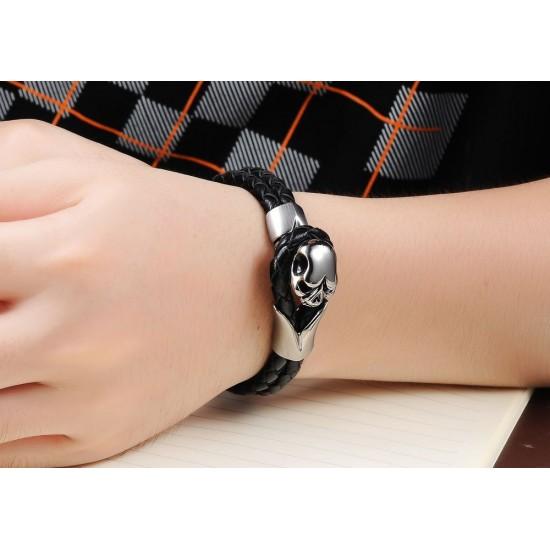 Men's Skull Design Handmade Titanium Steel Silicone Leather Fashion Bracelet CHBD-12