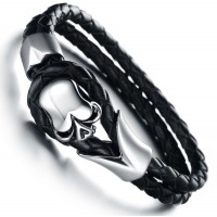 Men's Skull Design Handmade Titanium Steel Silicone Leather Fashion Bracelet CHBD-12