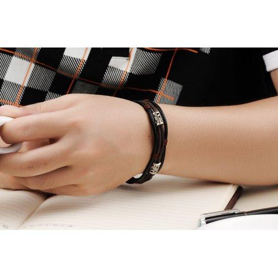 Men's Handmade Leather Fashion Bracelet CHBD-14 image