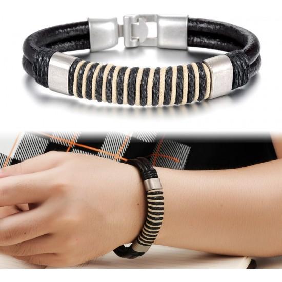 Men's Handmade Silver Tone Alloy Buckle Silicone Fashion Bracelet CHBD-15 image