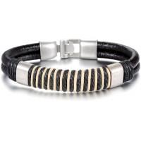Men's Handmade Silver Tone Alloy Buckle Silicone Fashion Bracelet CHBD-15