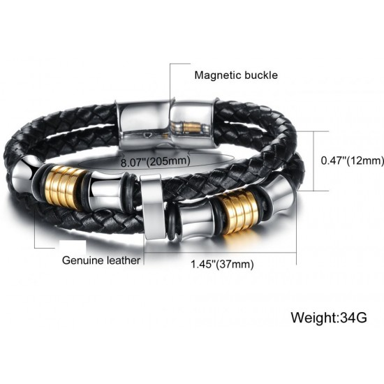 Men's Handmade Silver Tone Stainless Steel Leather Fashion Bracelet CHBD-18 image