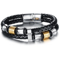 Men's Handmade Silver Tone Stainless Steel Leather Fashion Bracelet CHBD-18