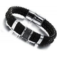 Men's Handmade Stainless Steel Leather Fashion Bracelet CHBD-20