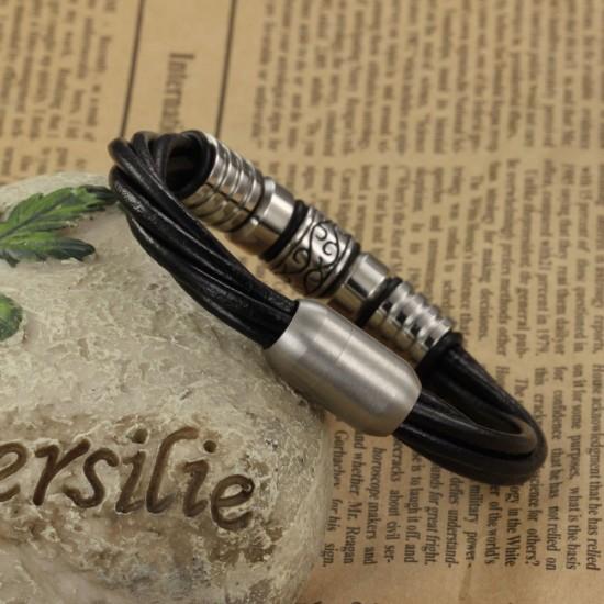 Men's Handmade Stainless Steel Leather Fashion Bracelet CHBD-21