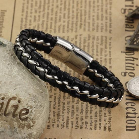 Men's Handmade Stainless Steel Leather Fashion Bracelet CHBD-24 image