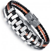Men's handmade Titanium steel Silicone leather fashion bracelet CHBD-30