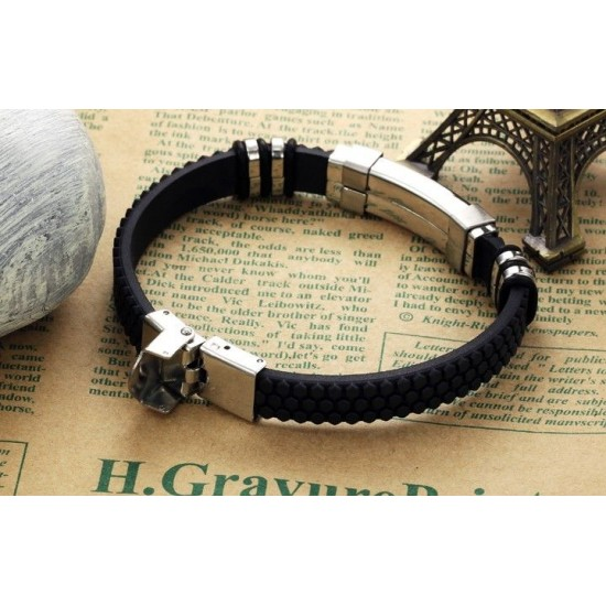 Men's Handmade Silver Tone Titanium Steel Silicon Leather Fashion Bracelet CHBD-32 image
