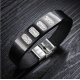 Genuine Leather Bracelet For Women Or Men Fashion Punk Stainless Steel Bracelets Bangles With Crystal Black CHBD-41 image