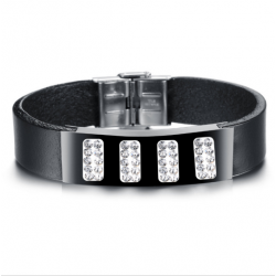 Genuine Leather Bracelet For Women Or Men Fashion Punk Stainless Steel Bracelets Bangles With Crystal Black CHBD-41