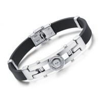 Skeleton Genuine Silicone Man Classical Stainless Steel Personality Men Bracelets CHBD-43