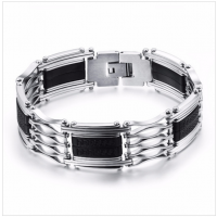 Wide Bracelet Men Stainless Steel Silicone Bracelet Jewelry Black And White Bracelets CHBD-45