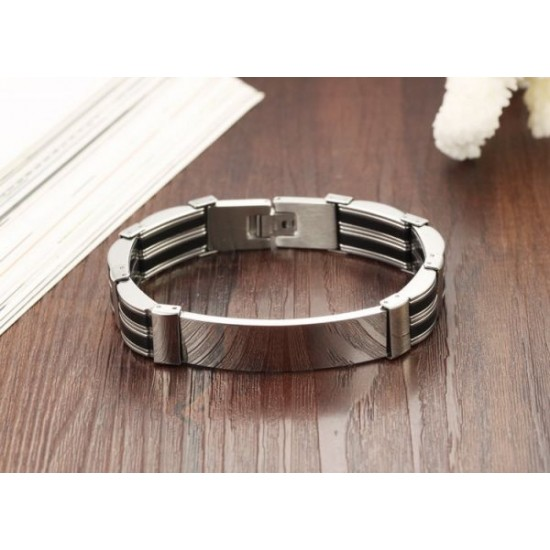 Mens Silver Stainless Steel silicone bracelet CHBD-47