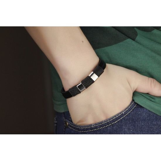 Stainless Steel Magnetic Buckle Silver Color Genuine Leather Punk Charm Bracelet CHBD-50 image
