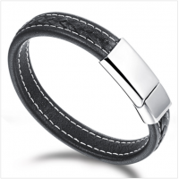 Black Genuine Leather Stainless Steel Men Bracelet CHBD-52